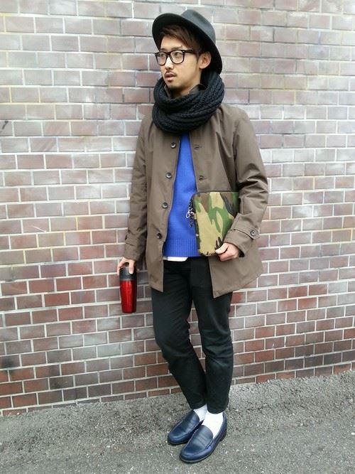 スヌードメンズ秋冬コーディネート画像1