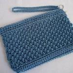 Denim Blue Wicker Weave Clutch w/ strap $15.00