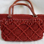 Raised Diamonds Beaded Bag with wooden handles in Brick Red - $40.00