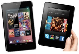 Tablet-Giveaway-Google-Nexus-7-Kindle-Fire-HD images of both 7 inch tablets