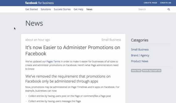 Screenshot of FB blog -Facebook Promotions just got easier for nonprofits