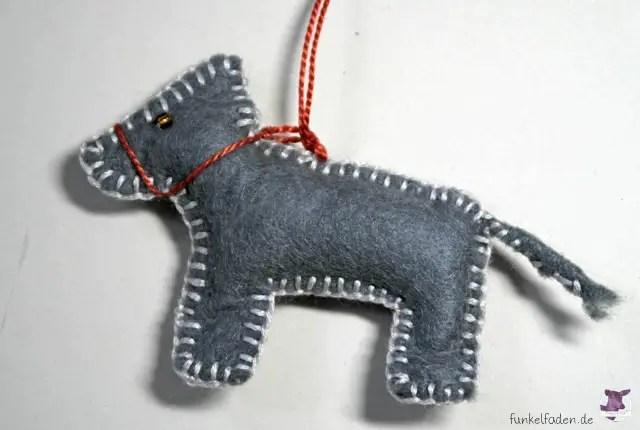 Esel aus Filz nähen / Filzanhänger