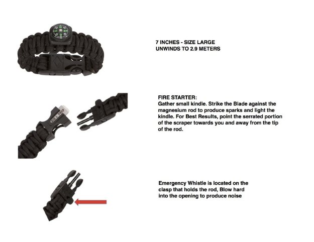 Paracord Survival Bracelet - outdoorsy gifts