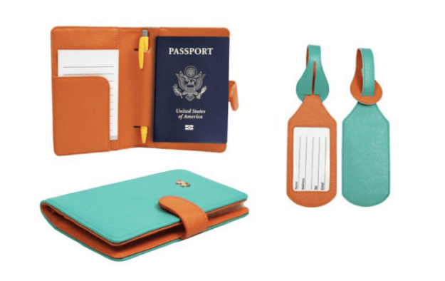 RFID Blocking Passport Case with Pen Holder and 2 Matching Luggage Tags