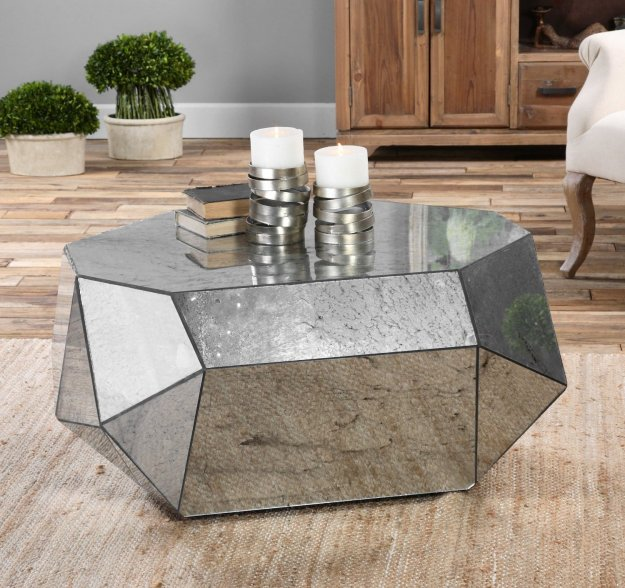 Modern Geometric Mirrored Coffee Table