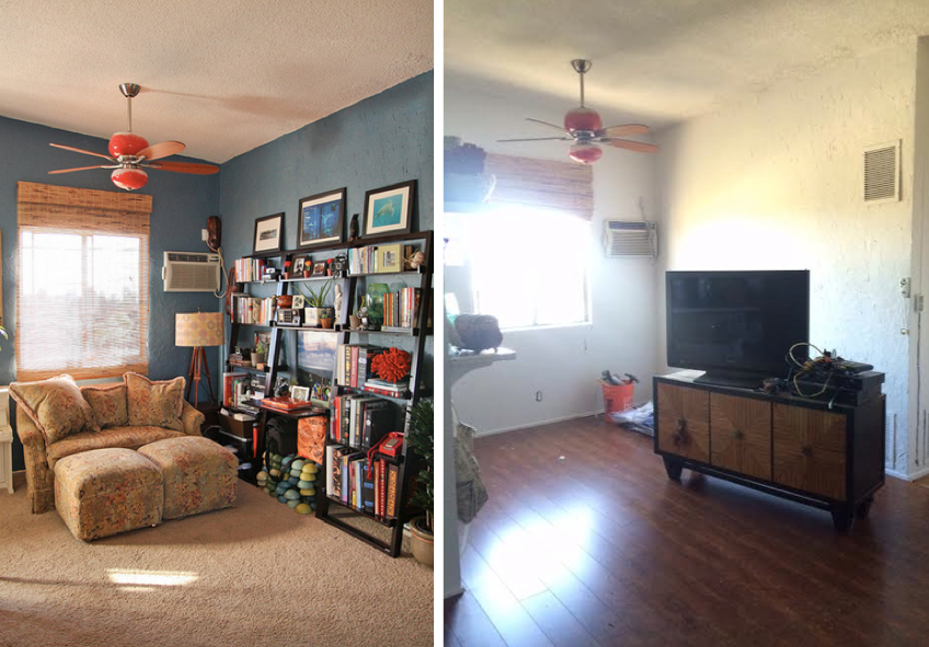 Dining room before and after.