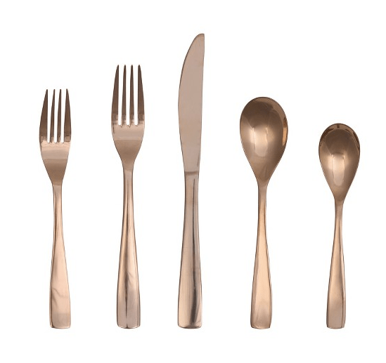 5 piece Vivian Rose Gold Flatware Set