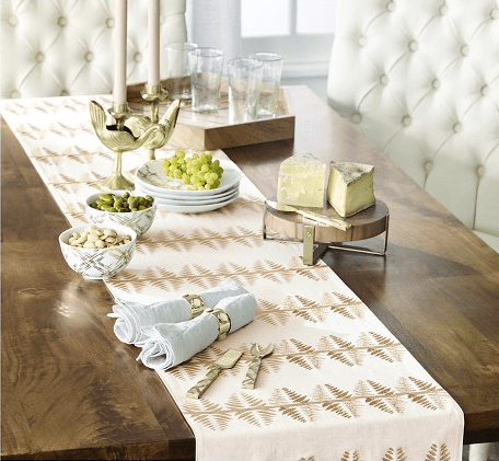 Nate Berkus Gold Metallic Leaf Table Runner