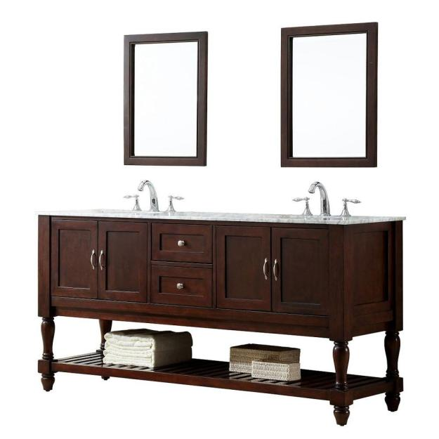 Mission Turnleg 70 in. Double Vanity in Dark Brown with Marble Vanity Top in Carrara White
