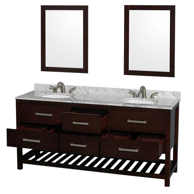 Natalie 72 in. Double Vanity in Espresso with Marble Vanity Top in White Carrara -- This one had the best/most storage!