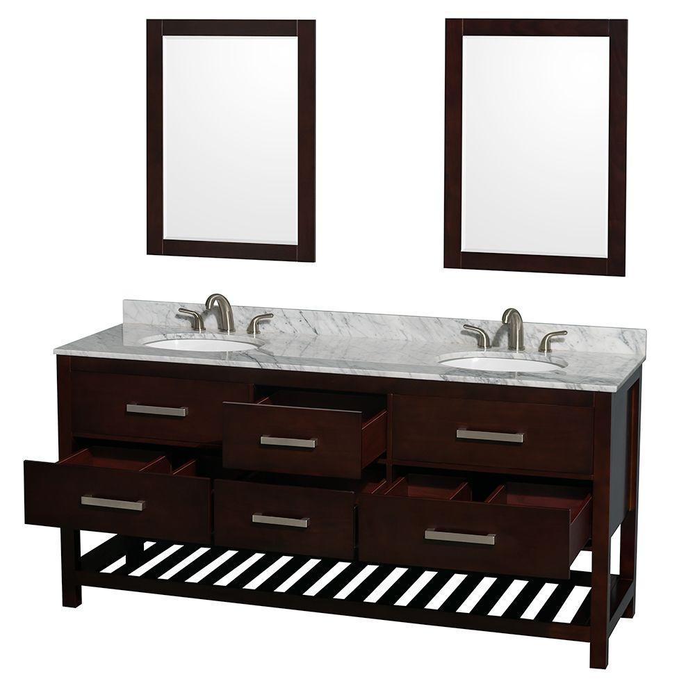 72 perfecta pa 5125 bathroom vanity double sink cabinet espresso - Natalie 72 In Double Vanity In Espresso With Marble Vanity Top In White Carrara Bathroom 72 Inch Double Sink