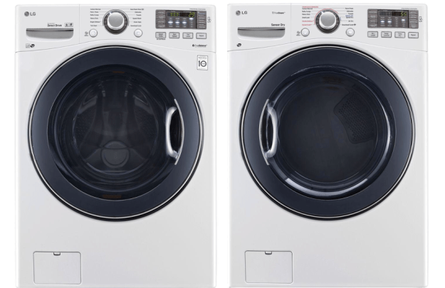 LG's 4.5 DOE cu. ft. High-Efficiency Front Load Washer and 7.4 cu. ft. Gas Dryer with Steam
