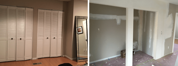 Bedroom closet: Before and during