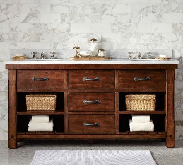 Pottery Barn's Benchwright Double Sink Console -- obviously this is perfect, but it's SUPER pricey.