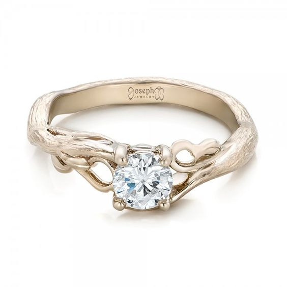 Custom Organic Diamond Solitaire from Joseph Jewelry.