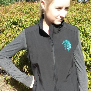 Softshell vest with Swirly  Blue Running horse