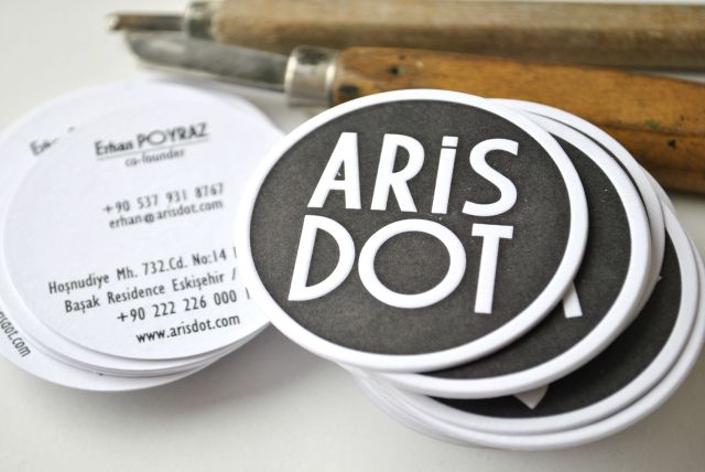 round letterpress business cards