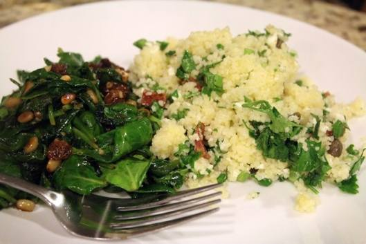 Dinner of spinach and couscous