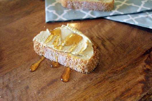 Bread drizzled with honey