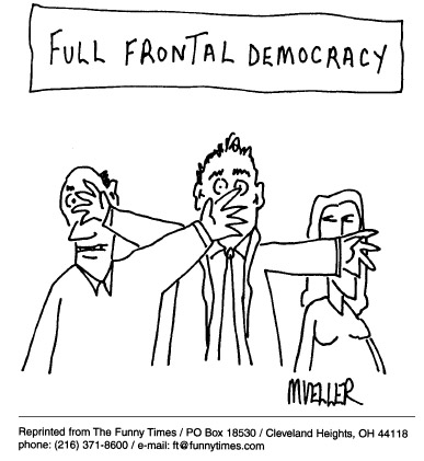 Funny mueller interview democracy  cartoon, May 13, 1998