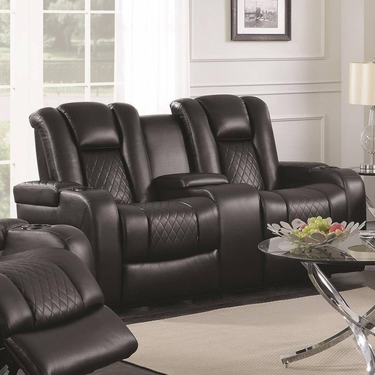 Delangelo Casual Power Reclining Love Seat With Cup Holders Storage  Console And USB Port Recliner Cup Holder Storage D88