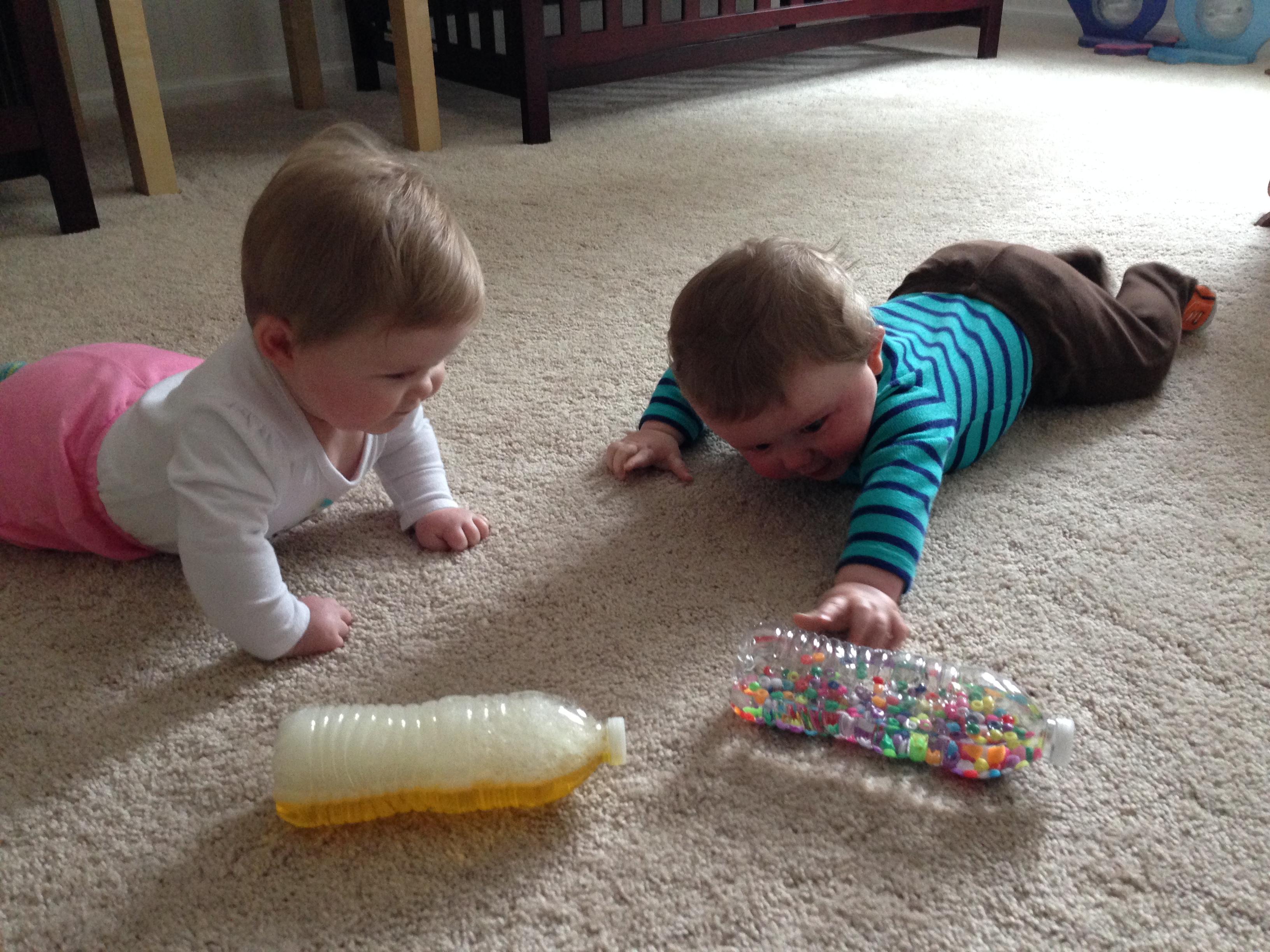 DIY baby toddler toys Sensory Bottles and Treasure Baskets