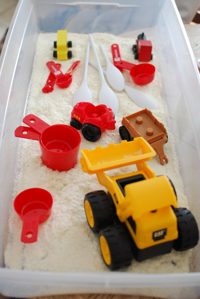 Faux Snow Potato Flakes Sensory Bin