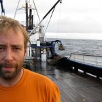 Edgar Hansen on the stern of the F/V Northwestern
