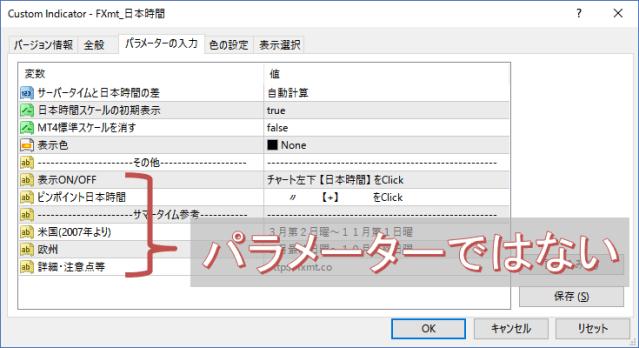 FXmt日本時間パラメーター