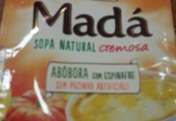 Sopa Natural Cremosa Madá Abóbora com Espinafre Mãe Terra