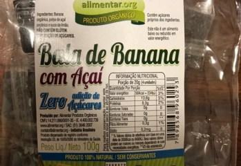 Bala de Banana Com Açaí Orgânica Zero Alimentar.org