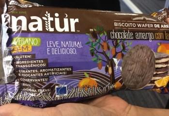 Biscoito Wafer de Arroz com Chocolate Amargo com Laranja Natür