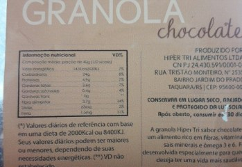 Granola Chocolate Hiper Tri Alimentos