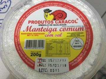 Manteiga Comum Com Sal Produtos Caracol
