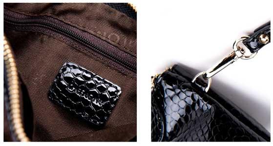 鳄鱼纹漆皮手抓包