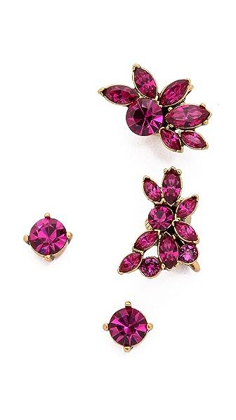 Oscar De La Renta Navette Crystal Cuff Earrings - Fuchsia