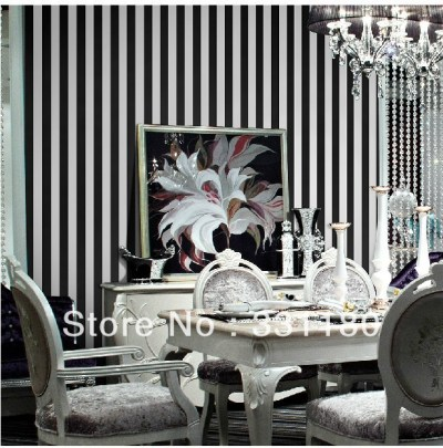Black and white Vertical stripes wallpaper roll paper wall living room Bedroom bathroom ...