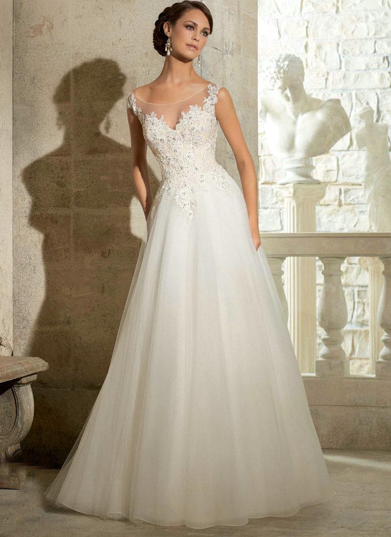 Cheap Wedding Dresses wedding dress sale online Scoop Neck Long Sleeves Button Appliques Mermaid Wedding Dress