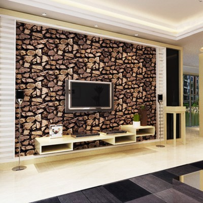 3D stone wallpaper Luxury vintage brick effect wallpaper for living room TV background wallpaper ...