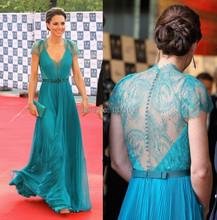 Vestido longo azul de celebridade Aliexpress com renda