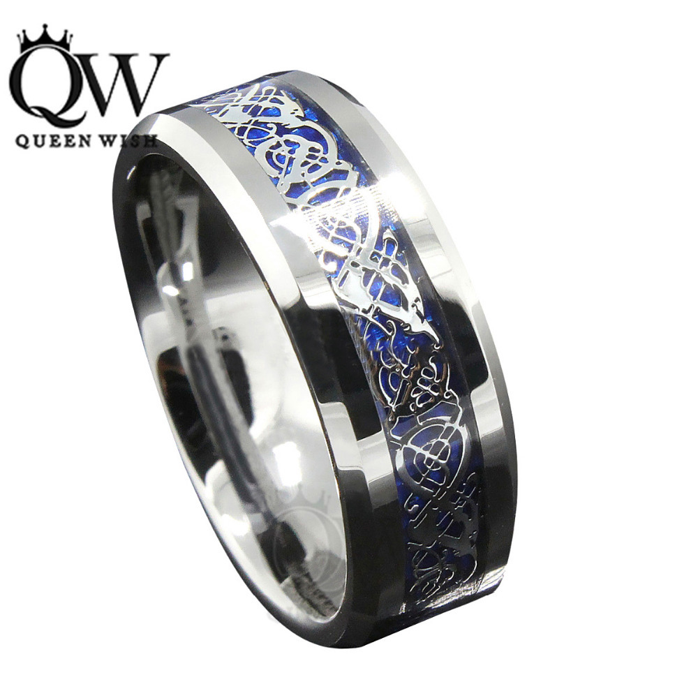 tungsten carbide wedding rings AVITUS Black Beveled Ceramic Ring with Blue Black Carbon Fiber Inlay or Black Titanium Ring with Centered Pattern by Edward Mirell