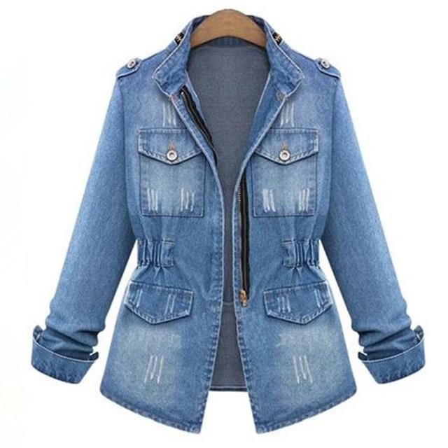 2016 новых женщин весна Осень джинсовые куртки зимы женщин тонкий джинсы пальто женщины длинным рукавом куртки верхняя одежда плюс zise S-5XL