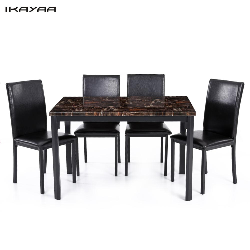 iKayaa US UK FR Stock 5PCS Modern Kitchen Furniture font b Dining b font Room font