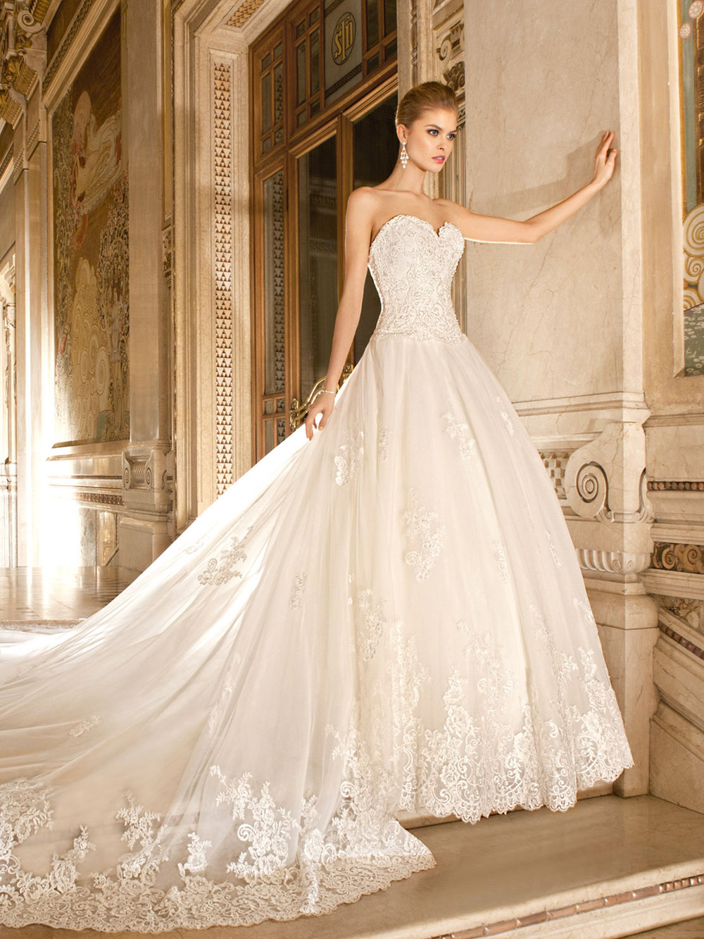 wedding dress with long cathedral train train wedding dress Wedding Dresses With Long Stunning