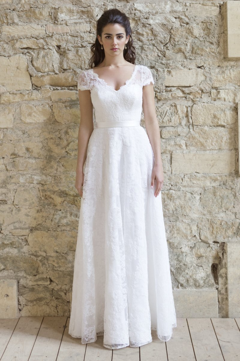 short sleeve wedding dresses Colette Dinnigan french corded lace short sleeve wedding dress with train