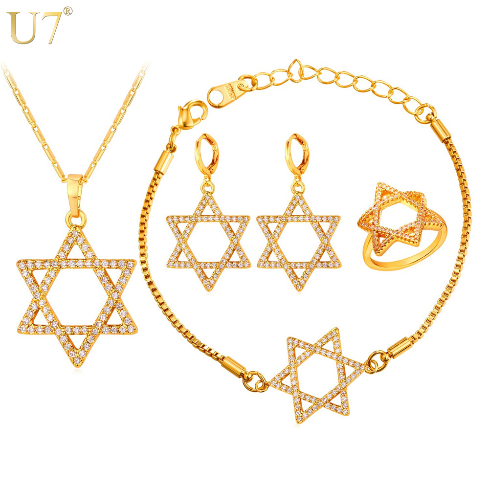 promotion moonstone wedding rings promotion moonstone wedding rings U7 New Hot Jewish Jewelry Star of David Necklace Set Gold Plated Wholesale Crystal Women Wedding Bridal Jewelry Sets S