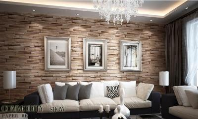 Luxury Wood Blocks Brick Wall Effect Vinyl 10M Wallpaper Roll Living Room Brown | eBay