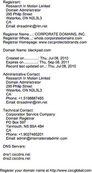RIM compra dominio BlackPad