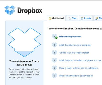 Dropbox 250MB gratis