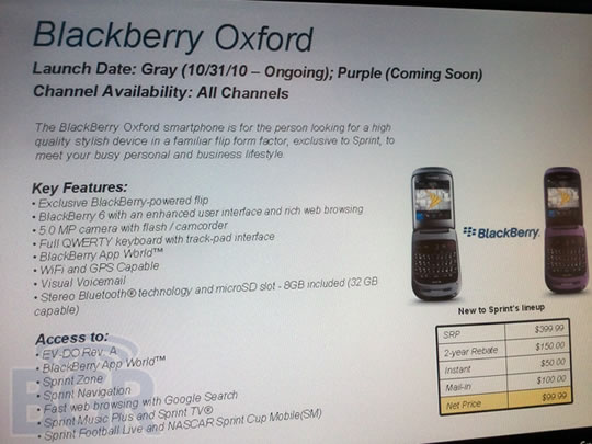 BlackBerry Oxford BlackBerry Style en Sprint